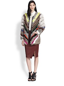 Elizabeth and James - Terra Striped Rabbit & Coyote Fur Coat