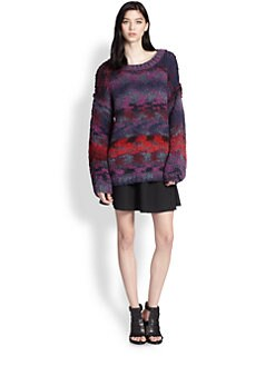 Elizabeth and James - Oversized Distorted-Stripe Sweater