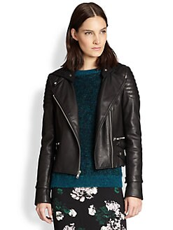 A.L.C. - Night Jersey-Hooded Leather Biker Jacket
