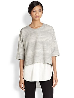 10 Crosby Derek Lam - Layered Sweatshirt & Blouse Combo Top
