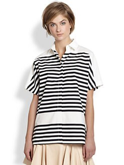 10 Crosby Derek Lam - Short-Sleeve Striped Shirt