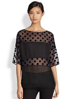 10 Crosby Derek Lam - Flocked Polka Dot Mixed-Panel Chiffon Top