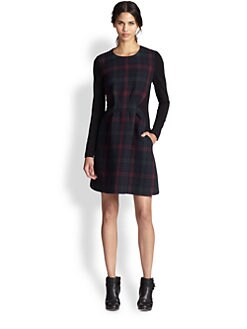 Thakoon Addition - Quilted Plaid-Paneled Stretch Jersey Dress