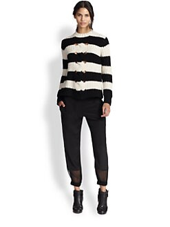 Thakoon Addition - Striped Cutout Ribbed Sweater