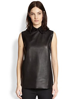 Alexander Wang - Collared Leather Tank Top