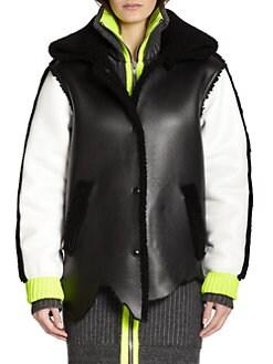 Alexander Wang - Shearling-Trimmed Leather Varsity Jacket