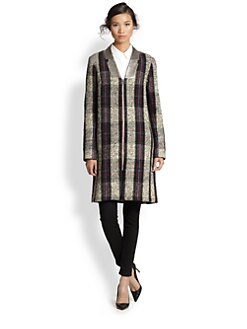 Suno - Metallic Faux Leather-Lapeled Plaid Coat