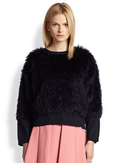 10 Crosby Derek Lam - Mohair & Cotton Shaggy Faux Fur-Paneled Sweater