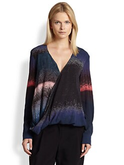 10 Crosby Derek Lam - Printed Stretch Silk Draped Wrap-Effect Blouse