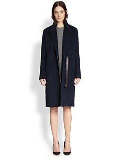 T by Alexander Wang - Leather-Trimmed Wool & Alpaca Coat