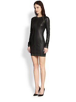 T by Alexander Wang - Topstitched Leather Body-Con Dress