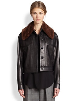 3.1 Phillip Lim - Shearling-Collar Leather Jacket