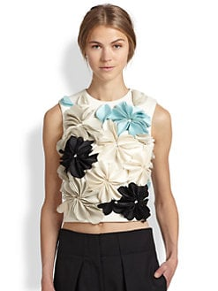 3.1 Phillip Lim - Floral-Applique Cropped Top