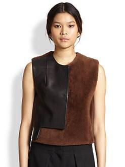 3.1 Phillip Lim - Leather-Paneled Lamb Shearling Vest