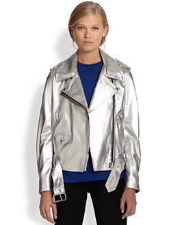 Acne Studios - Mape Metallic Leather Biker Jacket