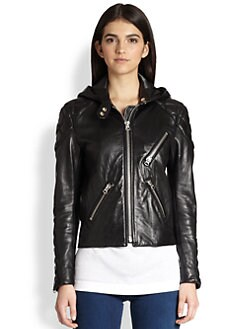 Acne Studios - Magna Hooded Leather Biker Jacket
