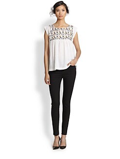Suno - Embroidered Cotton Gauze Top