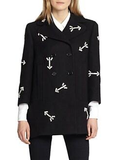 Carven - Rhinestone Arrow Double-Breasted Wool Coat