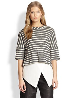 10 Crosby Derek Lam - Striped Tee & Asymmetrical Tank Combo Top