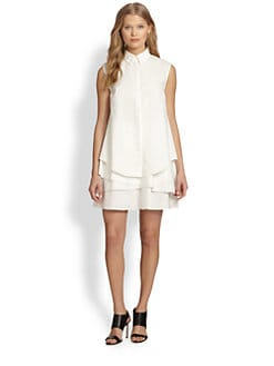 10 Crosby Derek Lam - Asymmetrical Tiered-Hem Sleeveless Shirtdress