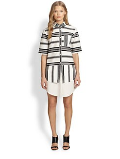 10 Crosby Derek Lam - Layered-Panel Striped Cotton Shirtdress
