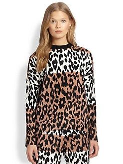 10 Crosby Derek Lam - Stretch Silk Colorblock Leopard-Print Sweatshirt
