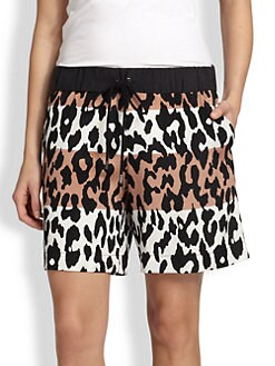 10 Crosby Derek Lam - Stretch Silk Colorblock Leopard-Print Shorts