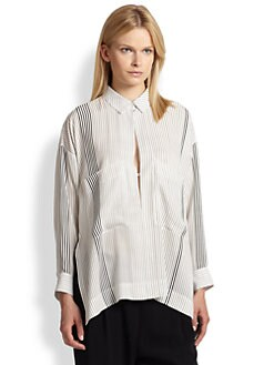 10 Crosby Derek Lam - Striped Silk Oversized Keyhole Shirt