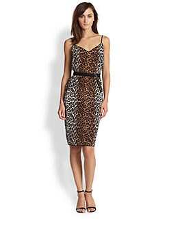 Elizabeth and James - Alix Cheetah-Print Silk Belted Dress