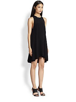 T by Alexander Wang - Leather-Trimmed Crepe Melange Trapeze Dress