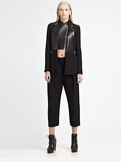 Alexander Wang - Leather-Trim Wool Blazer