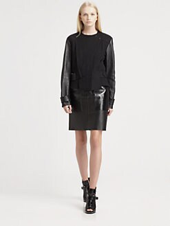 Alexander Wang - Leather-Sleeve Jacket