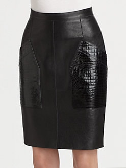 Alexander Wang - Croc-Print Leather Pencil Skirt