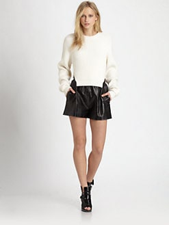 Alexander Wang - Croc-Print Leather Shorts