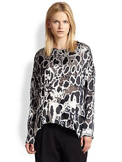 10 Crosby Derek Lam - Metallic Leopard-Patterned Sheer Burnout Top