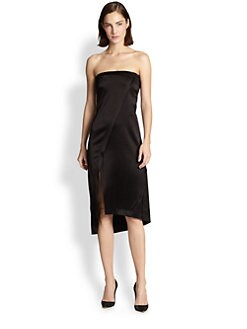 10 Crosby Derek Lam - Strapless Satin Wrap-Effect Dress