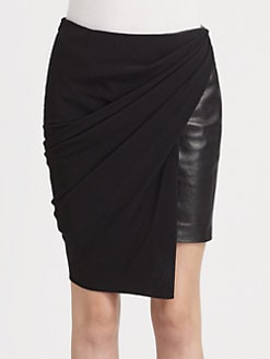 Alexander Wang - Knit Leather-Panel Skirt