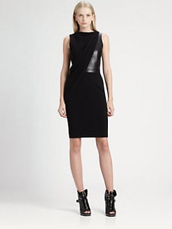 Alexander Wang - Draped Leather-Bodice Dress