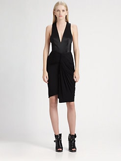 Alexander Wang - Draped Satin-Bodice Dress