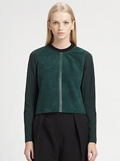 Alexander Wang - Colorblock Suede-Trim Sweater