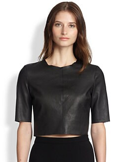 A.L.C. - Corey Leather Cropped Top