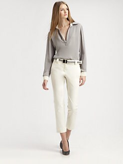 L'AGENCE - Silk Contrast Shirt