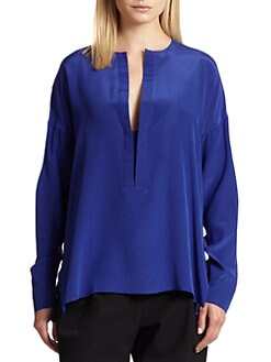 10 Crosby Derek Lam - Silk Split-Neck Oversized Blouse