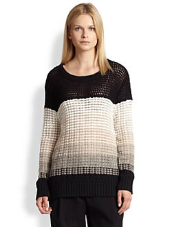 10 Crosby Derek Lam - Striped Cashmere & Cotton Open-Knit Sweater