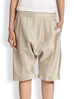 Alasdair - Bea Silk Satin Dropped-Rise Shorts