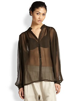 Alasdair - Sheer Silk Chiffon Poet Blouse