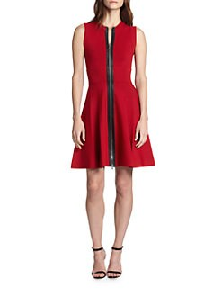 A.L.C. - Dolls Leather-Trimmed Knit Dress