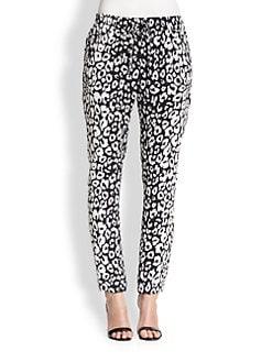 A.L.C. - Thompson Leopard-Print Silk Track Pants