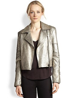J Brand - Aiah Metallic Leather Motorcycle Jacket