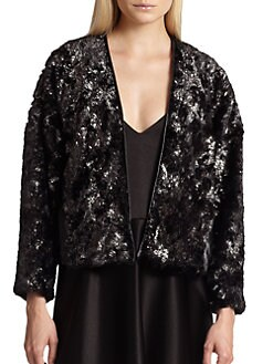 10 Crosby Derek Lam - Leather-Trimmed Cropped Faux Fur Jacket